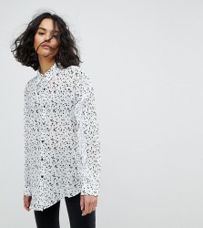Reclaimed Vintage Inspired Ruffle Sleeve Shirt In Star Print - Cream