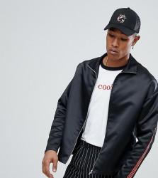 Reclaimed Vintage Inspired Satin Zip Through Jacket - Black
