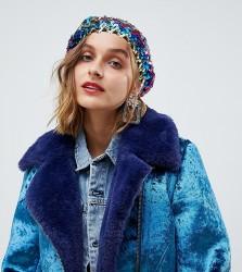 Reclaimed Vintage inspired sequin beret - Multi