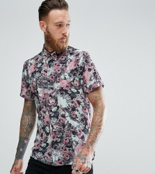 Reclaimed Vintage Inspired Shirt In Blue With Rose Print Reg Fit - Blue