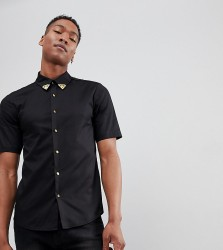 Reclaimed Vintage Inspired Shirt With Collar Tips And Short Sleeves - Black
