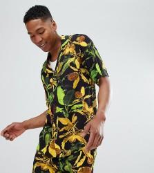 Reclaimed Vintage Inspired Short Sleeve Neon Leaf Print Shirt - Black