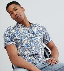 Reclaimed Vintage Inspired Short Sleeve Retro Mosaic Print Shirt - Blue