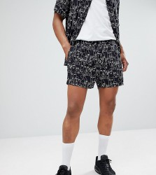 Reclaimed Vintage Inspired Shorts With Face Print In Black - Black