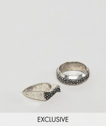 Reclaimed Vintage inspired signet ring pack exclusive at ASOS - Silver