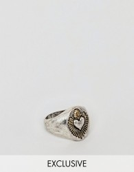 Reclaimed Vintage inspired signet ring with heart in burnished silver exclusive at ASOS - Silver