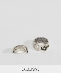 Reclaimed Vintage Inspired Silver Band Ring In 2 Pack Exclusive To ASOS - Silver