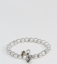 Reclaimed Vintage Inspired Silver Beaded Bracelet Exclusive To ASOS - Black