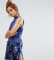Reclaimed Vintage Inspired Sleeveless Mini Dress In Brocade - Blue