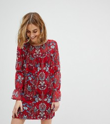 Reclaimed Vintage Inspired Smock Dress In Floral - Red