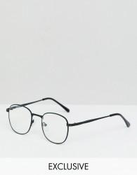 Reclaimed Vintage Inspired Square Clear Lens Glasses In Black - Black