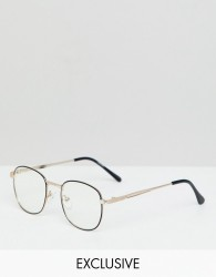 Reclaimed Vintage Inspired Square Clear Lens Glasses In Black/Gold - Black
