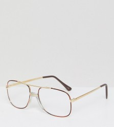 Reclaimed Vintage Inspired Square Clear Lens Glasses In Gold Exclusive To ASOS - Gold