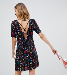Reclaimed Vintage inspired square neck mini dress with faces print - Black