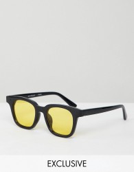 Reclaimed Vintage Inspired Square Sunglasses With Yellow Lens - Black