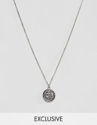 Reclaimed Vintage Inspired St Christopher pendant necklace in burnished silver - Silver