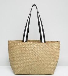 Reclaimed Vintage Inspired Straw Shoulder Bag With Sports Straps - Beige