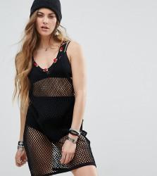 Reclaimed Vintage Inspired String Dress With Rose Trim - Black