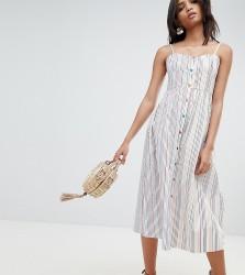 Reclaimed Vintage Inspired Stripe Button Through Sun Dress - White