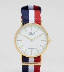 Reclaimed Vintage Inspired Stripe Canvas Watch With White Dial Exclusive to ASOS - Multi