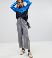 Reclaimed Vintage Inspired Stripe Drawstring Wide Leg Trouser - Grey