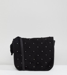 Reclaimed Vintage Inspired Studded Suede Cross Body Bag - Black