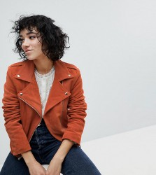 Reclaimed Vintage Inspired Suede Biker Jacket - Orange
