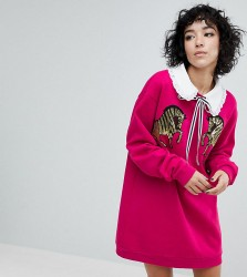 Reclaimed Vintage Inspired Sweat Dress With Sequin Zebra - Pink