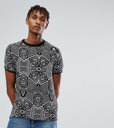 Reclaimed Vintage Inspired T-Shirt In Black Geometric Print With Turtle Neck - Black
