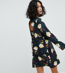 Reclaimed Vintage Inspired Tie Back Swing Dress In Floral Print - Black