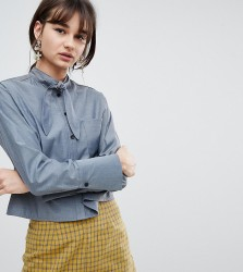 Reclaimed Vintage Inspired Tie Neck Cropped Shirt - Blue