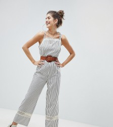 Reclaimed Vintage Inspired Tie Shoulder Jumpsuit With Crochet Inserts - Multi