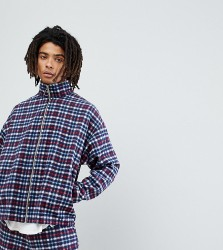 Reclaimed Vintage Inspired Track Jacket In Check - Navy