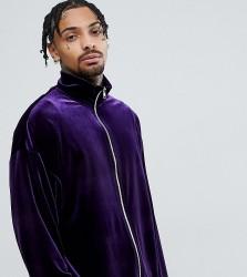 Reclaimed Vintage Inspired Track Jacket In Purple Velvet - Purple