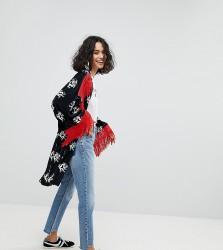 Reclaimed Vintage Inspired Velvet Dragon Kimono With Fringing - Black