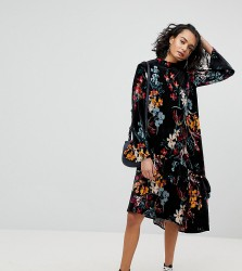 Reclaimed Vintage Inspired Velvet Midi Smock Dress In Floral Print - Multi