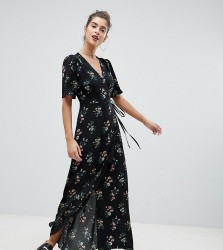 Reclaimed Vintage Inspired Wrap Maxi With Split - Black