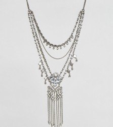 Reclaimed Vintage Multi Layer Diamante Necklace - Silver