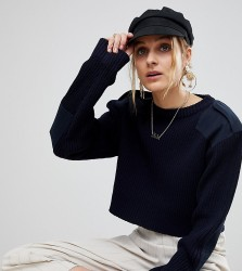 Reclaimed Vintage Revived Cropped Military Jumper - Navy