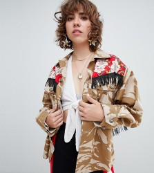 Reclaimed Vintage revived fringed military jacket - Multi