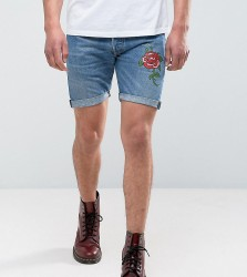 Reclaimed Vintage Revived Levis Shorts With Rose Print - Blue