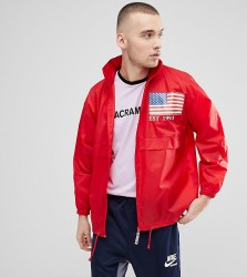 Reclaimed Vintage Revived Windbreaker With Sleeve Print - Red