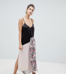 Reclaimed Vintage Satin Cami Dress With Floral Overlay - Pink
