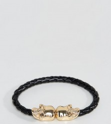 Reclaimed Vintage Woven Faux-Leather Bracelet With Skulls In Black Exclusive To ASOS - Brown