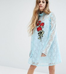 Reclaimed Vintage X Romeo And Juliet Lace Dress With Patch - Blue