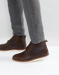 Red Tape Brogue Boots Brown Leather - Brown