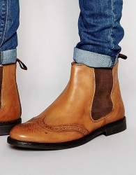 Red Tape Brogue Chelsea Boots - Tan