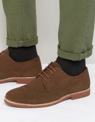 Red Tape Brogues In Brown Suede - Brown