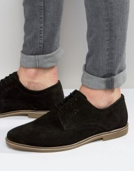 Red Tape Derby Shoes In Black Suede - Black