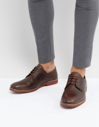 Red Tape Derby Shoes In Milled Brown Leather - Brown